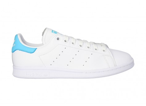 Chaussures adidas Stan Smith blanche et turquoise vue dessus