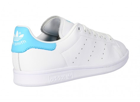 Chaussures adidas Stan Smith blanche et turquoise vue avant