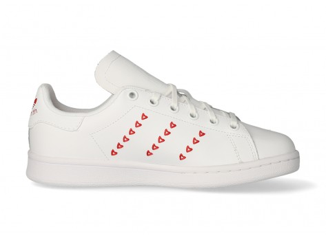 adidas Stan Smith Junior blanche et rouge Coeurs - Chaussures ...