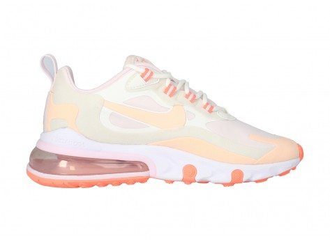 Chaussures Nike Air Max 270 React grise et rose vue dessus