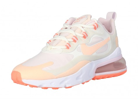 Chaussures Nike Air Max 270 React grise et rose vue intérieure