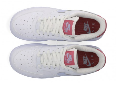 Chaussures Nike Air Force 1 '07 blanche grise et rose Femme vue dessus