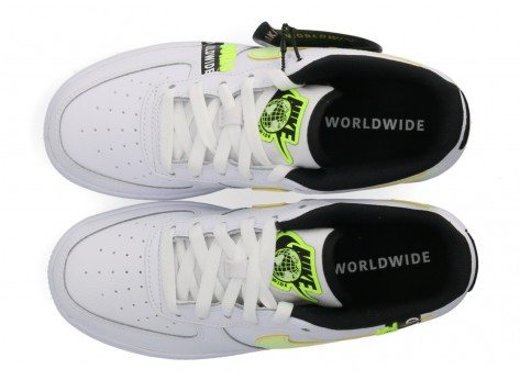 Chaussures Nike Air Force 1 LV8 blanche Volt - Pack Worldwide vue dessus