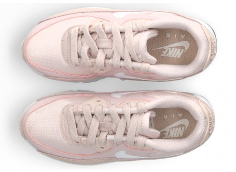 Chaussures Nike Air max 90 leather enfant rose vue dessus