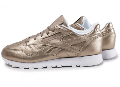 32335b25a7a73 Cliquez pour zoomer Chaussures Reebok Classic Leather W Melted Metals or  vue extérieure ...