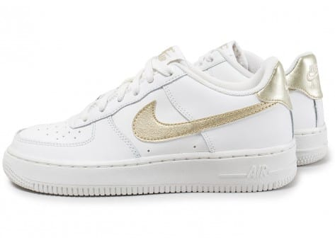 photos officielles b0986 3eb87 Nike Air Force 1 Junior blanc et or