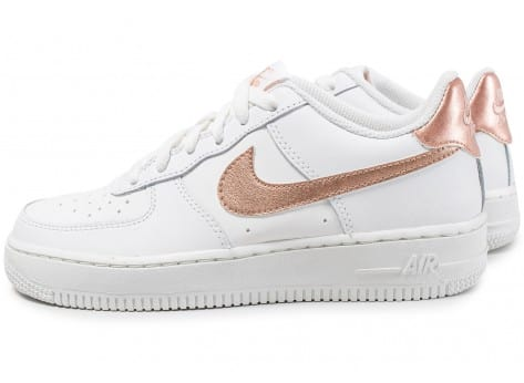 basket air force 1 enfant blanche et bronze