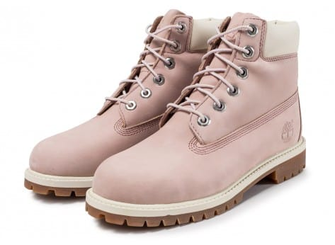 Chaussures Timberland 6-inch Premium Boots Junior Rose et Blanche vue intérieure