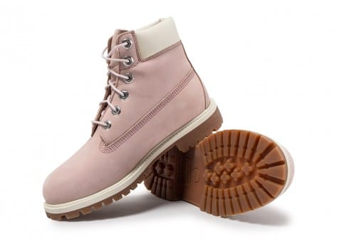 Chaussures Timberland 6-inch Premium Boots Junior Rose et Blanche vue avant