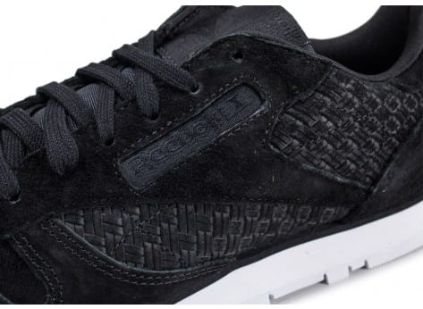 Chaussures Reebok Classic Leather Woven EMB noire vue dessus