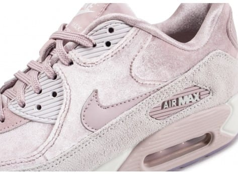 Chaussures Nike Air Max 90 velours rose vue dessus