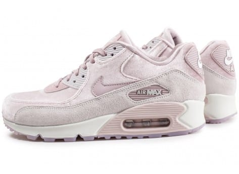 Chaussures Nike Air Max 90 velours rose vue extérieure