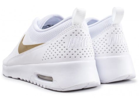 Chaussures Nike Air Max Thea blanche et or vue dessous