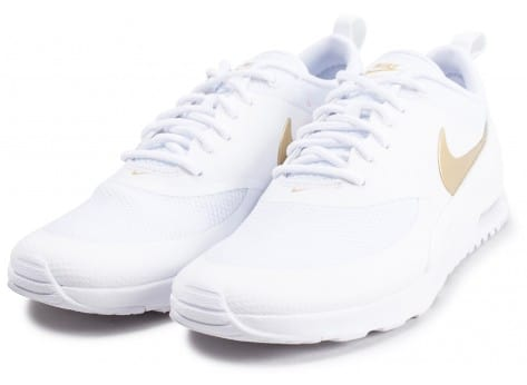 Chaussures Nike Air Max Thea blanche et or vue intérieure