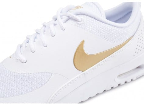 Chaussures Nike Air Max Thea blanche et or vue dessus