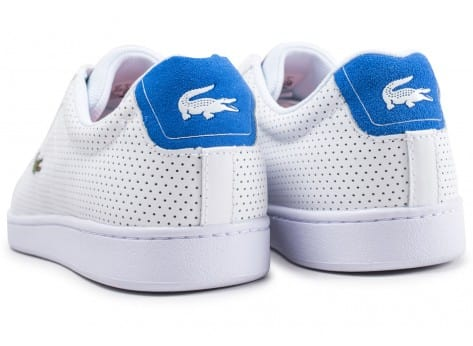 Chaussures Lacoste Carnaby Evo blanche et bleu turquoise vue dessous
