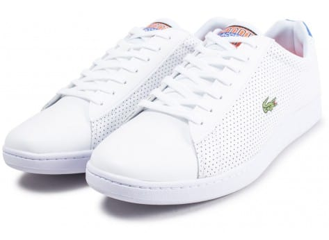 Chaussures Lacoste Carnaby Evo blanche et bleu turquoise vue intérieure