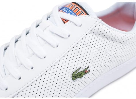 Chaussures Lacoste Carnaby Evo blanche et bleu turquoise vue dessus