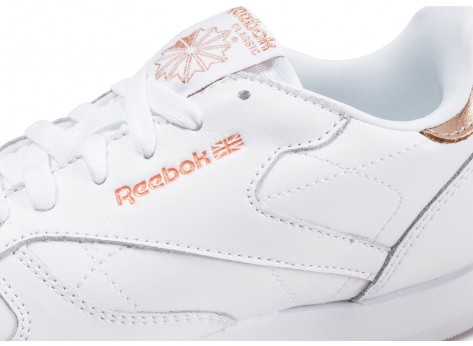 Chaussures Reebok Classic Leather blanche et or junior vue dessus