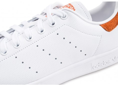 Chaussures adidas Stan Smith blanche et rouge vue dessus