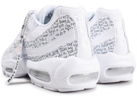 Chaussures Nike Air Max 95 SE blanche Just Do It vue dessous
