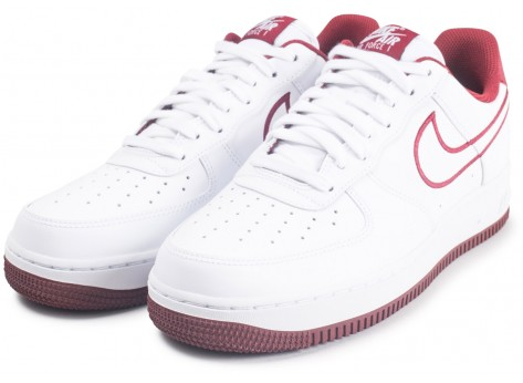 Chaussures Nike Nike Air Force 1 '07 Leather blanc et rouge vue intérieure