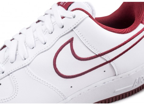 Chaussures Nike Nike Air Force 1 '07 Leather blanc et rouge vue dessus