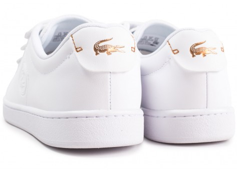 Chaussures Lacoste Carnaby Evo à scratch blanche femme vue dessous