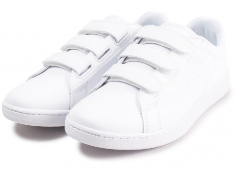 Chaussures Lacoste Carnaby Evo à scratch blanche femme vue intérieure