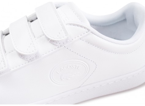 Chaussures Lacoste Carnaby Evo à scratch blanche femme vue dessus