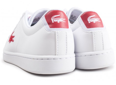 Chaussures Lacoste Carnaby Evo blanche et rouge junior vue dessous
