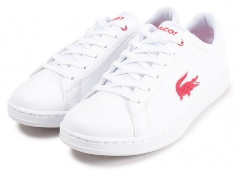 Chaussures Lacoste Carnaby Evo blanche et rouge junior vue intérieure