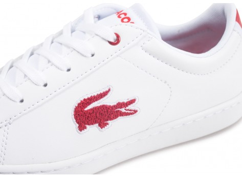 Chaussures Lacoste Carnaby Evo blanche et rouge junior vue dessus