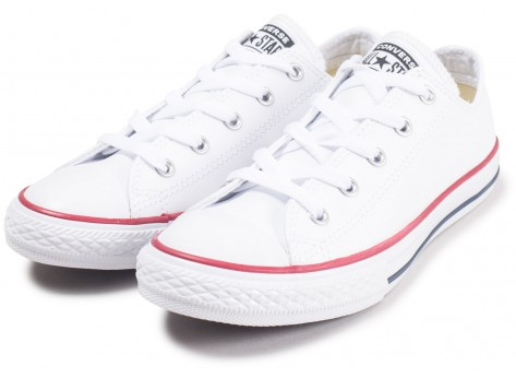 Chaussures Converse Chuck Taylor All Star Leather OX blanche enfant vue intérieure