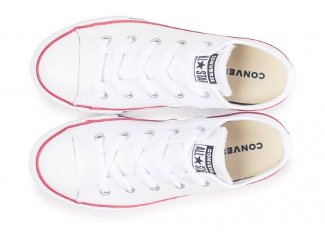 Chaussures Converse Chuck Taylor All Star Leather OX blanche enfant vue arrière