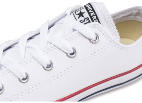 Chaussures Converse Chuck Taylor All Star Leather OX blanche enfant vue dessus