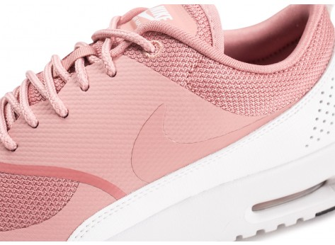 Chaussures Nike Air Max Thea rose et blanche femme vue dessus