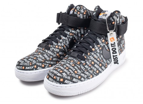 Chaussures Nike Air Force 1 High LX Just Do it noire vue intérieure