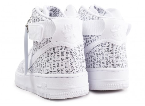 Chaussures Nike Air Force 1 High Just do it LX blanche femme vue dessous