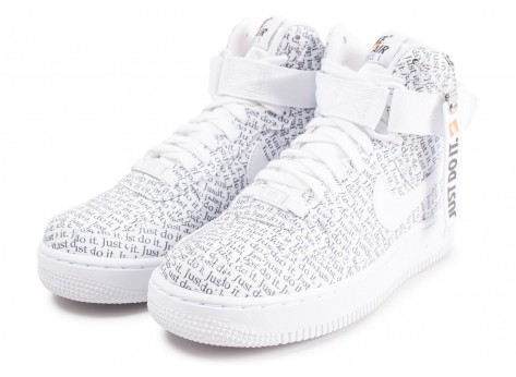 Chaussures Nike Air Force 1 High Just do it LX blanche femme vue intérieure