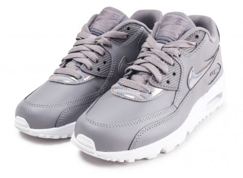 Chaussures Nike Air Max 90 Leather grise junior vue intérieure