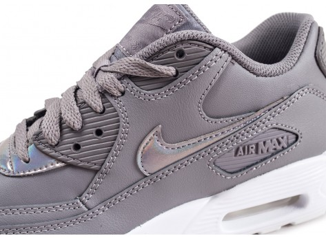 Chaussures Nike Air Max 90 Leather grise junior vue dessus