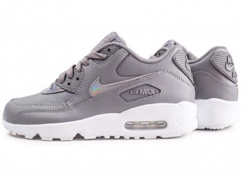 Chaussures Nike Air Max 90 Leather grise junior vue extérieure