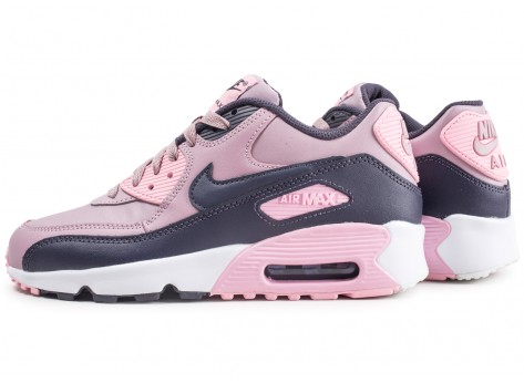 Chaussures Nike Air Max 90 Leather rose junior vue extérieure