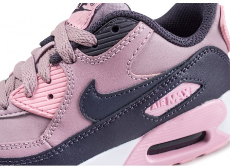 Chaussures Nike Air Max 90 Leather Pre-School rose enfant vue dessus