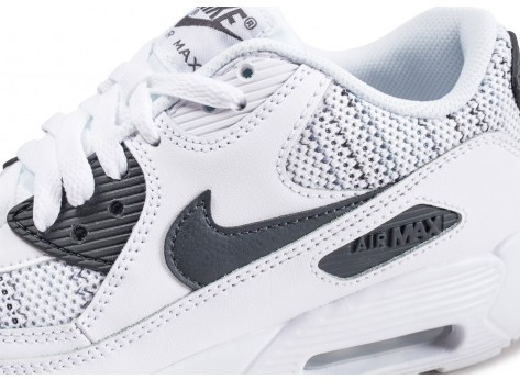 Chaussures Nike Air Max 90 Mesh blanche et grise junior vue dessus