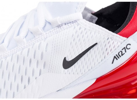 Chaussures Nike Air Max 270 blanche et rouge  vue dessus