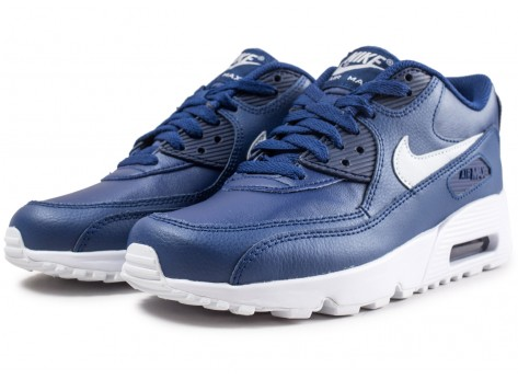 Chaussures Nike Air Max 90 Leather blue void junior  vue intérieure
