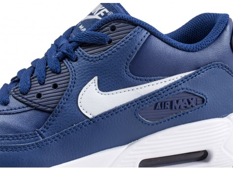 Chaussures Nike Air Max 90 Leather blue void junior  vue dessus