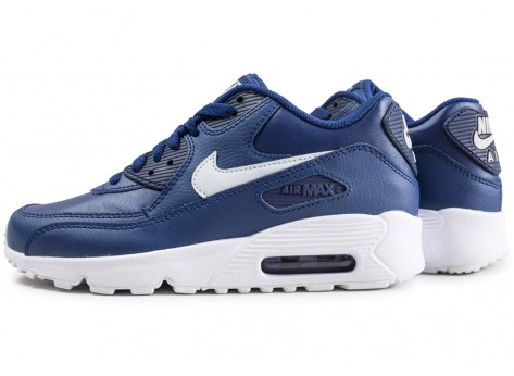 Chaussures Nike Air Max 90 Leather blue void junior  vue extérieure